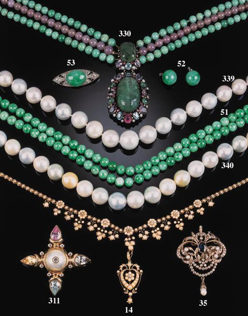 A jade bead necklace,