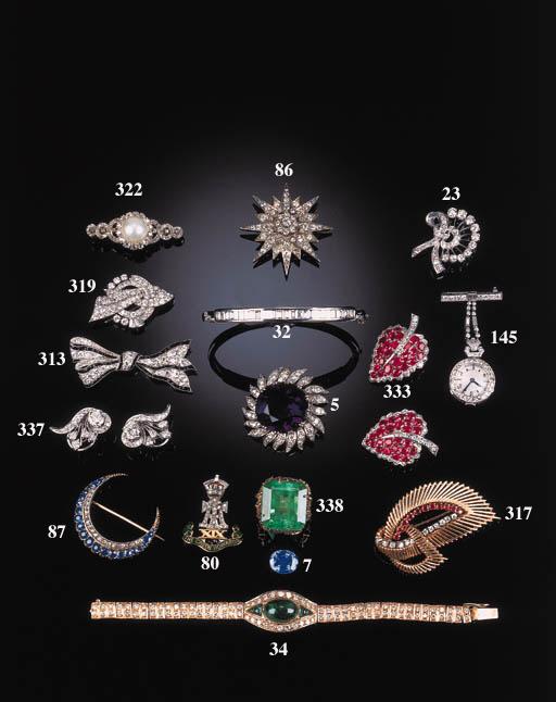 A sapphire and diamond crescen