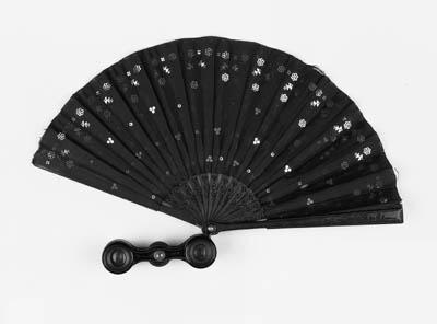 An opera glass fan, the black