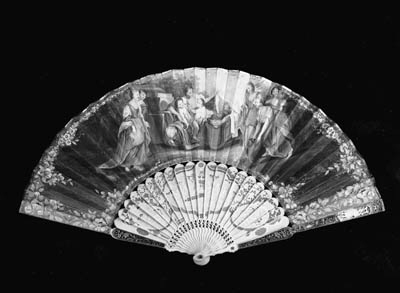 Charity, a fan, the leaf paint