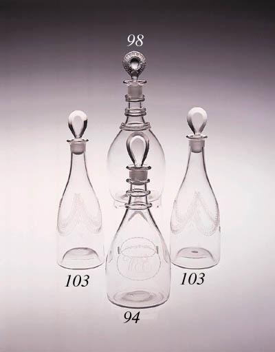An Irish club-shaped decanter