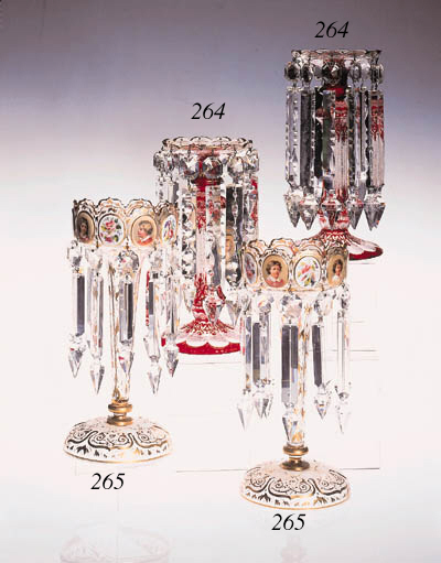 A pair of Bohemian ruby-flashe
