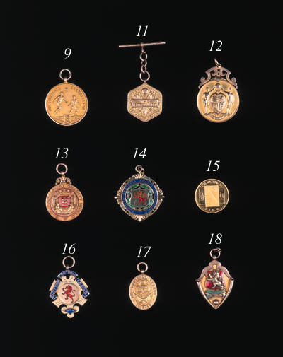 A 9ct and enamel medal, the ob