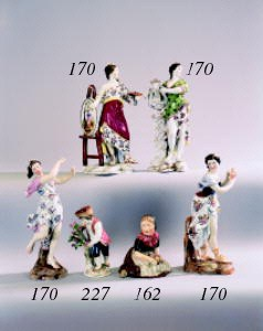 Four Volkstedt figures of clas