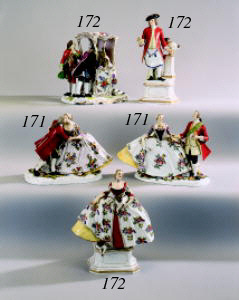 A German porcelain group of 'T