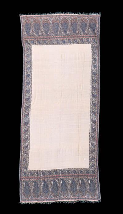 An ivory pashmina jamawar shaw