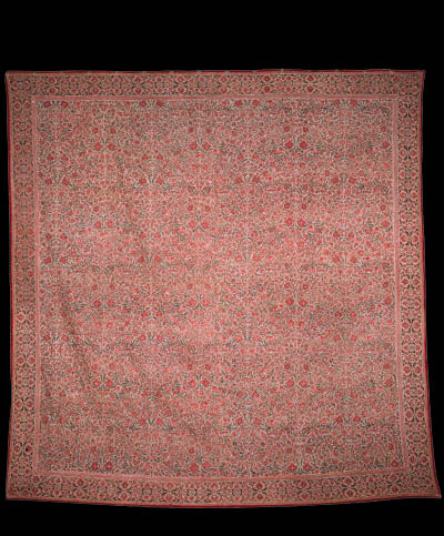 A chintz coverlet