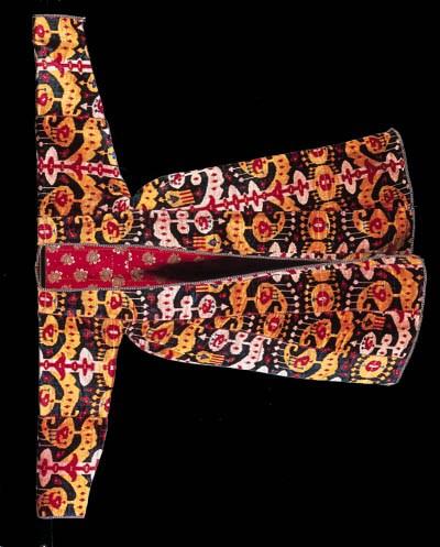 A coat of silk velvet ikat,