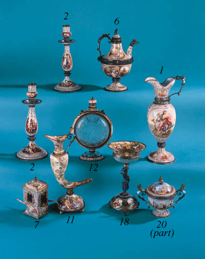 A pair of Viennese enamelled c