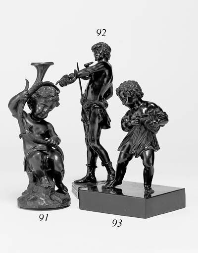 A bronze figure of a boy, poss