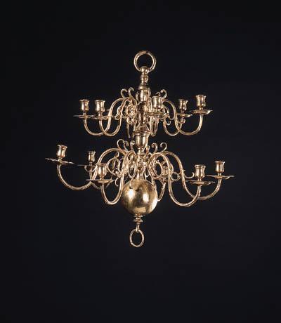 A gilt-brass twelve-light chan