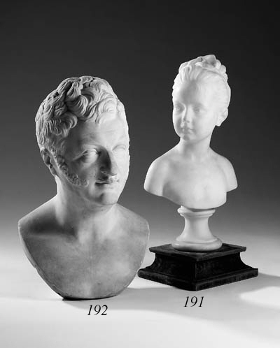 A sculpted alabaster bust of L
