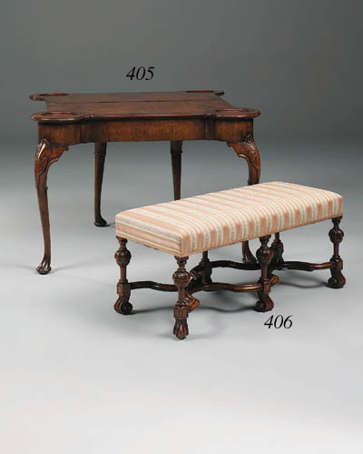 A walnut games table, late 19t