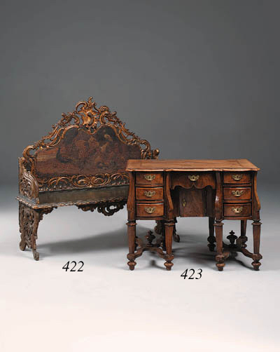 A walnut and parquetry bureau