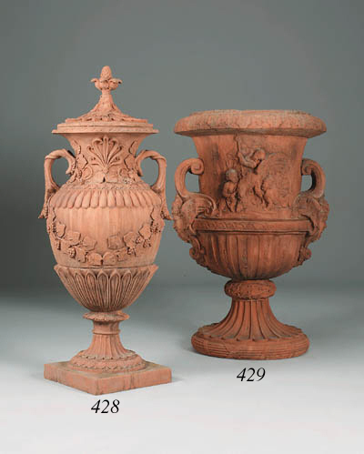 A pair of terracotta camapana