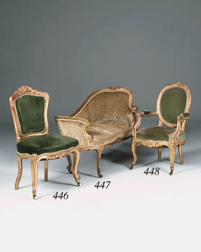 A French giltwood fauteuil, la