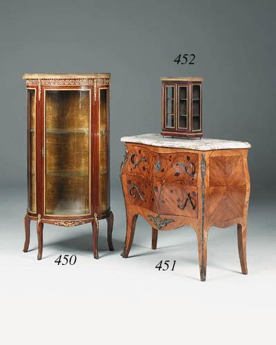 A miniature mahogany and brass