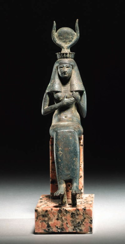 A BRONZE SEATED FIGURE OF ISIS