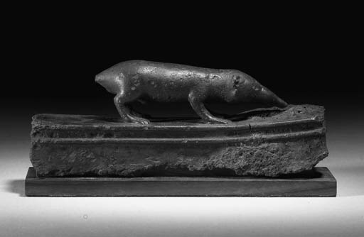 A BRONZE FIGURE OF A MONGOOSE