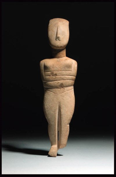 A LARGE CYCLADIC MARBLE FEMALE