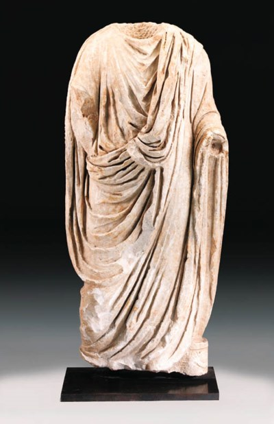 A ROMAN MARBLE STATUE OF A TOG