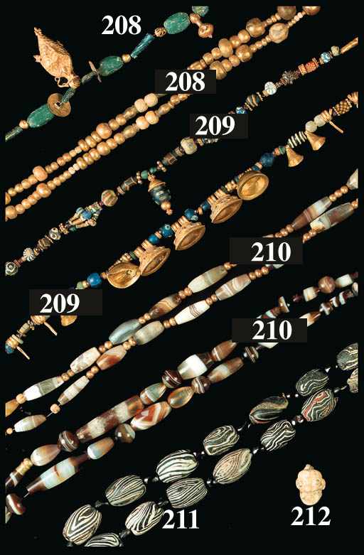 TWO ROMAN GOLD AND GLASS BEAD