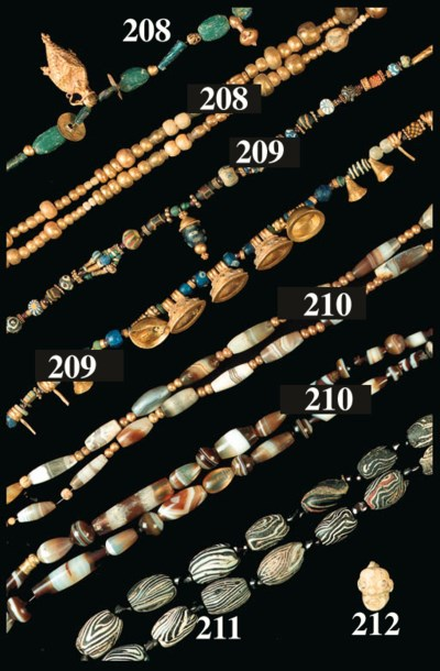 FOUR MAINLY BANDED AGATE BEAD