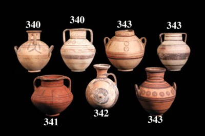 TWO CYPRIOT WHITE PAINTED WARE