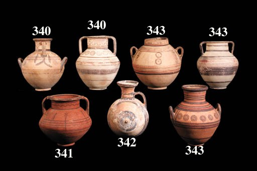 SIX CYPRIOT BICHROME WARE VESS