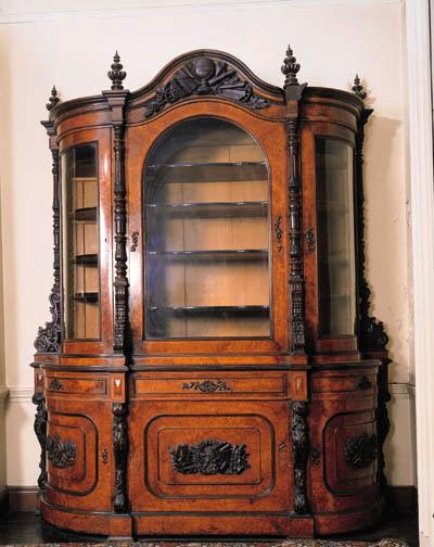 A burr-walnut side cabinet, th