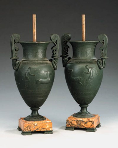 A pair of French spelter urns