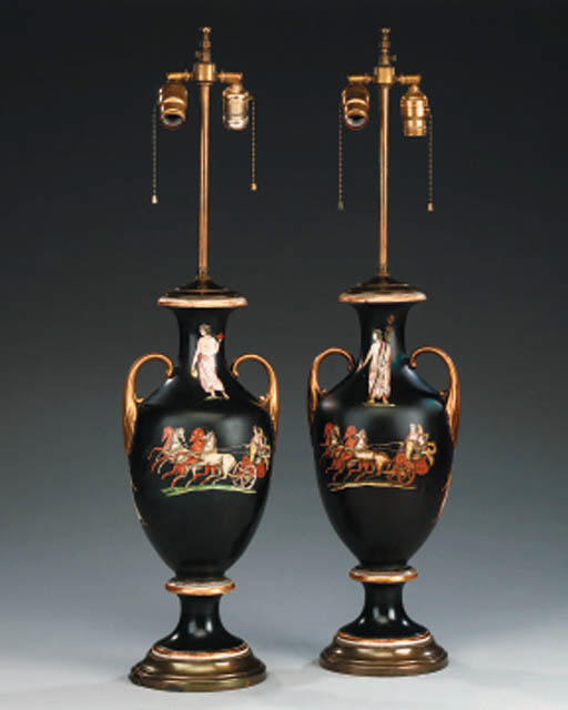 A pair of English porcelain va