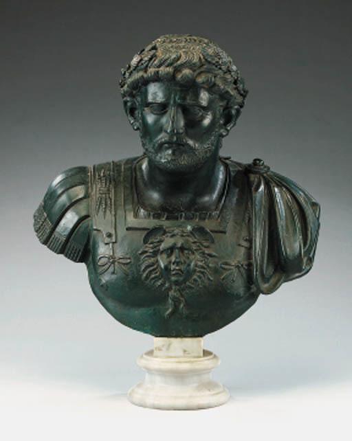A Continental bronze bust of a