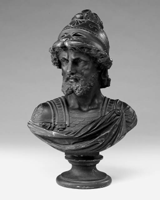 A French bronze bust of a helm