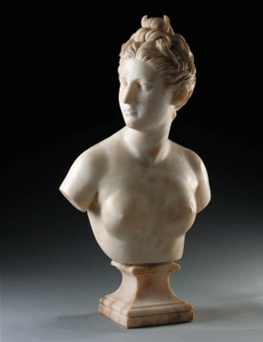 A continental alabaster bust o