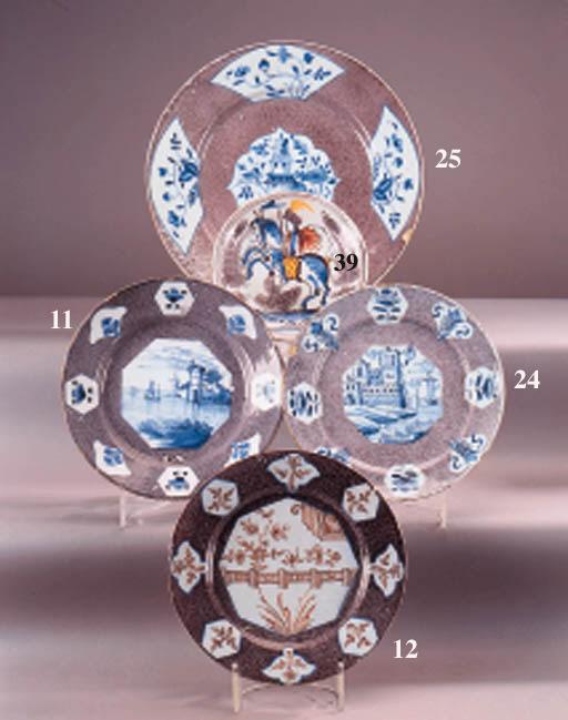 A Dutch delft polychrome plate