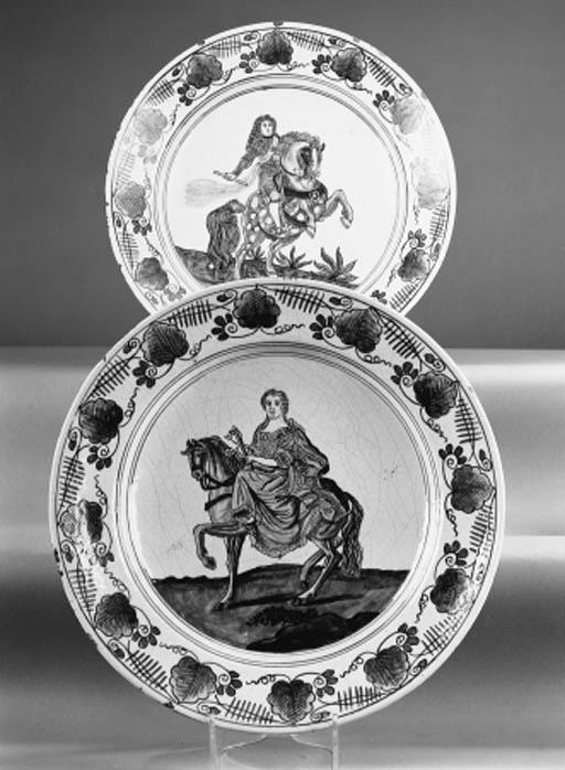 A pair of Delft polychrome equ
