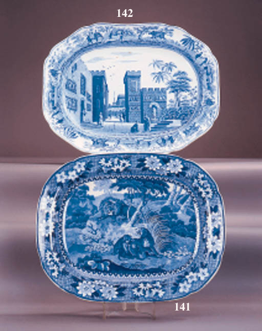 An Adams pottery blue and whit