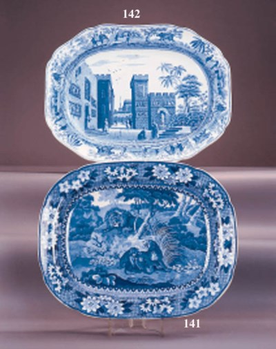 A Spode pottery blue and white