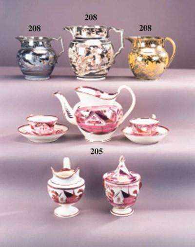 A pearlware pink-lustre teaset
