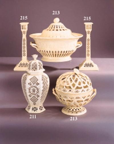 A Leeds pottery pierced two-ha