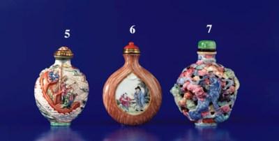 A Famille Rose Molded Porcelai