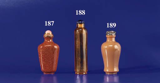 A Transparent Amber Glass Bott