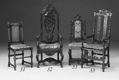 A matched set of eight carved