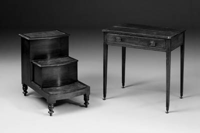 A set of mahogany commode steps, early 19th century