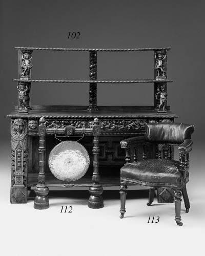 A Victorian oak gong