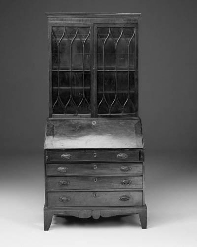 A mahogany bureau bookcase, pa