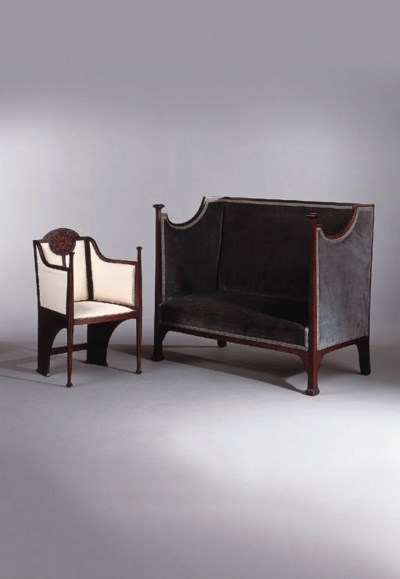 An Art Noueavu mahogany and in