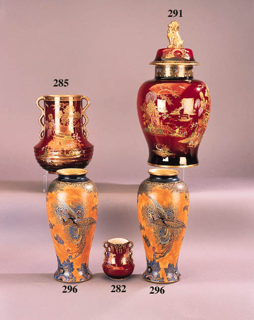 A Carlton Ware Rouse Royale tomb jar and cover