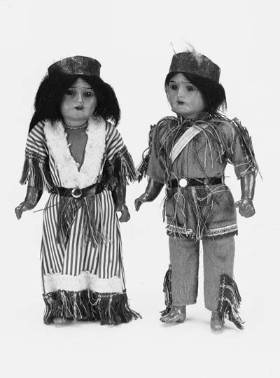 A pair of Armand Marseille character dolls modelled as native Americans